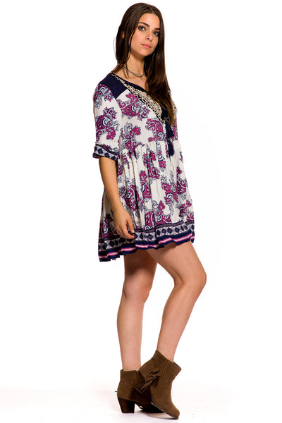 (aky) Paisley 3/4 sleeves short flare boho dress - L.A. Roxx - 2