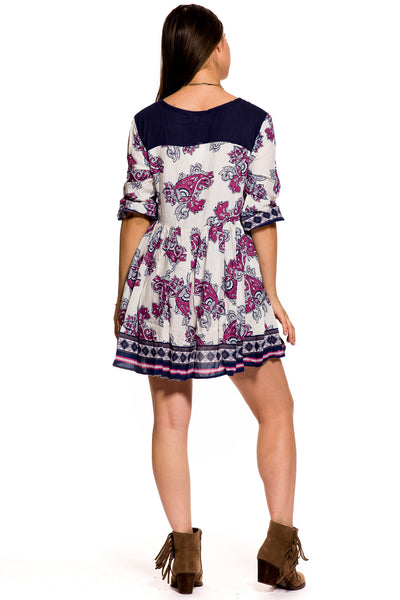 (aky) Paisley 3/4 sleeves short flare boho dress - L.A. Roxx - 4