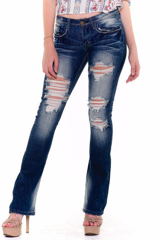 (akv) Bell bottom distressed machine brand jeans