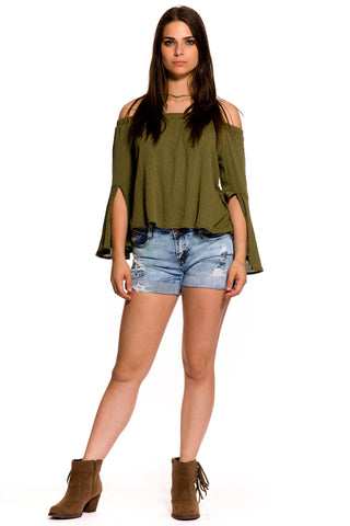(aky) Cut out long bell sleeves off shoulder flare top -Green-