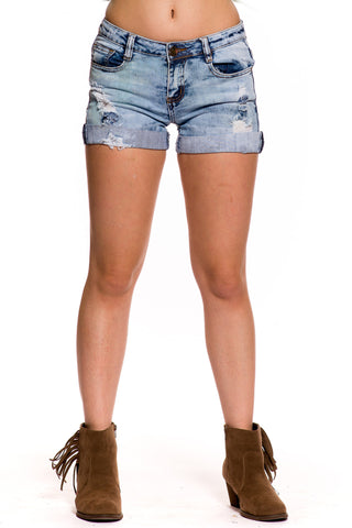 (aky) Distressed details Machine brand folded ends denim shorts