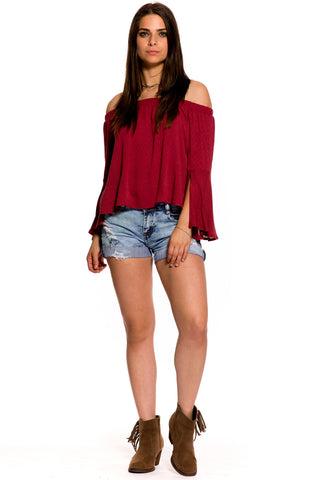 (aky) Cut out long bell sleeves off shoulder flare top -Rust-