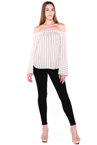 (akv) Off the shoulder striped top