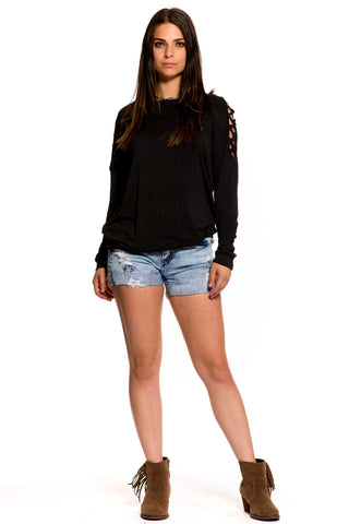 (aky) Caged cold shoulder mineral wash sweat shirt -Black-