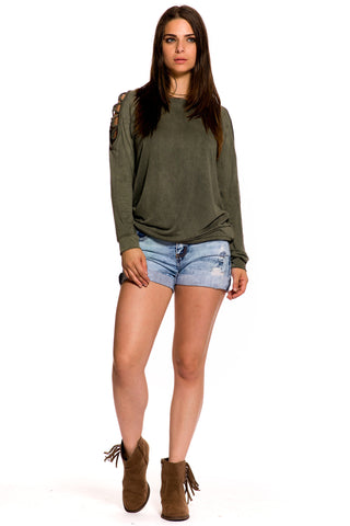 (aky) Caged cold shoulder mineral wash sweat shirt -Olive-