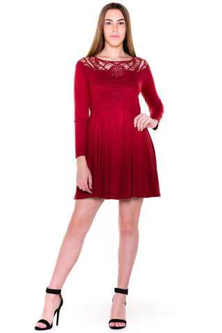 (akv) Crochet detail fit and flare short dress -Burgundy-