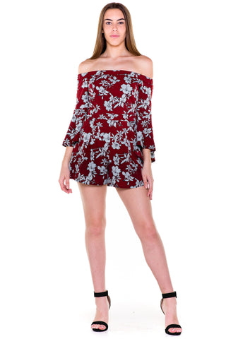 (akv) Floral off the shoulder romper