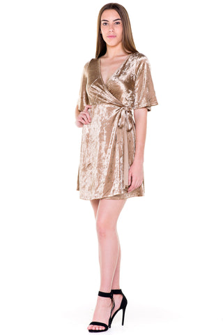 (akv) Wrap around velvet short dress -Gold-