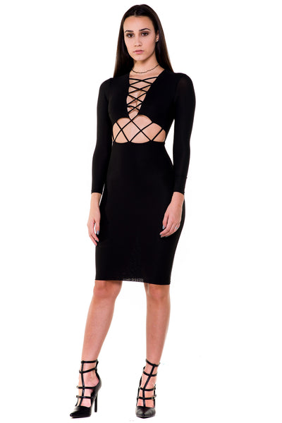 (akx) Long sleeves caged details silhouette dress -Black- - L.A. Roxx - 1