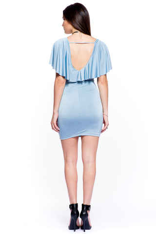 (akt) Ruffle top fitted short dress -Blue-