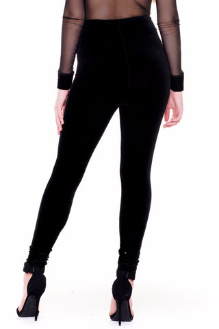 (akv) Velvet high waist skinny pants -Black-