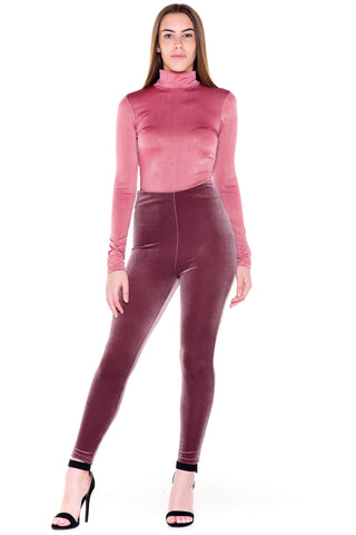 (akv) Key hole on back mock neck bodysuit -Mauve-