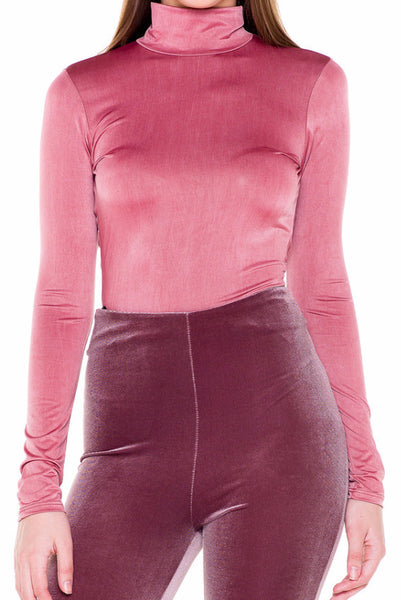 (akv) Key hole on back mock neck bodysuit -Mauve- - L.A. Roxx - 5