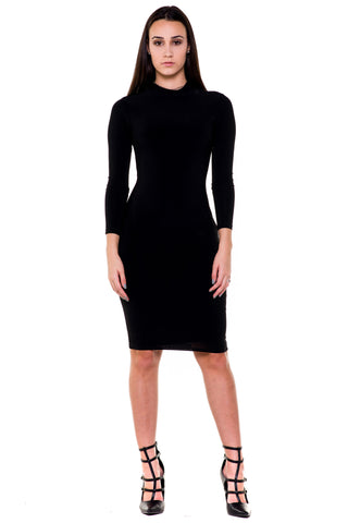 (akx) caged on back long sleeves knee length dress