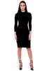 (akx) caged on back long sleeves knee length dress - L.A. Roxx - 1