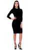 (akx) caged on back long sleeves knee length dress - L.A. Roxx - 4