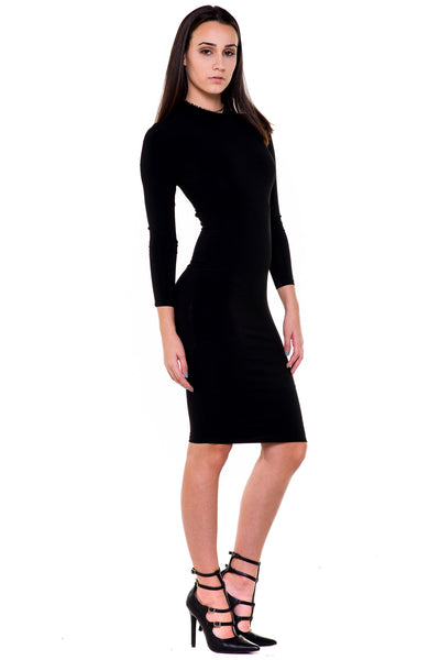 (akx) caged on back long sleeves knee length dress - L.A. Roxx - 3