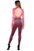 (akv) Key hole on back mock neck bodysuit -Mauve- - L.A. Roxx - 2