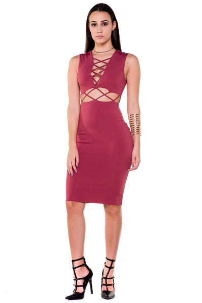 (akx) Caged details sleeveless knee length dress -Pink- - L.A. Roxx - 1