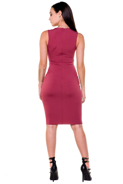 (akx) Caged details sleeveless knee length dress -Pink- - L.A. Roxx - 4