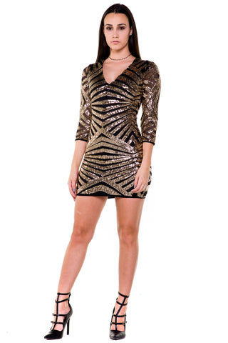 (akx) Sequins 3/4 sleeves V neck short dress -Gold-