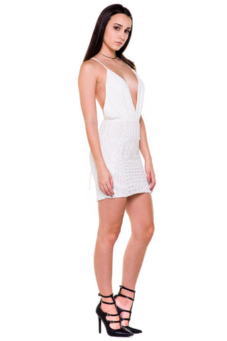 (akx) Sheer sequins bottom open back short dress -White-