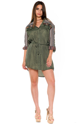 (alb) Tribal embroidery shirt dress -Olive-