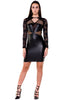 (akx) Lace and pleather long sleeves short dress -Black- - L.A. Roxx - 1