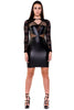 (akx) Lace and pleather long sleeves short dress -Black- - L.A. Roxx - 3