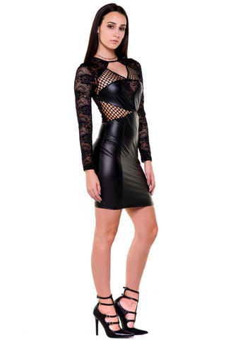 (akx) Lace and pleather long sleeves short dress -Black-