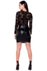 (akx) Lace and pleather long sleeves short dress -Black- - L.A. Roxx - 4