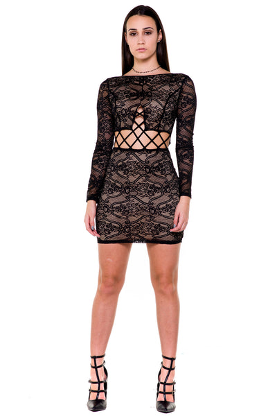 (akx) Caged on waist long sleeves lace short dress -Black- - L.A. Roxx - 1