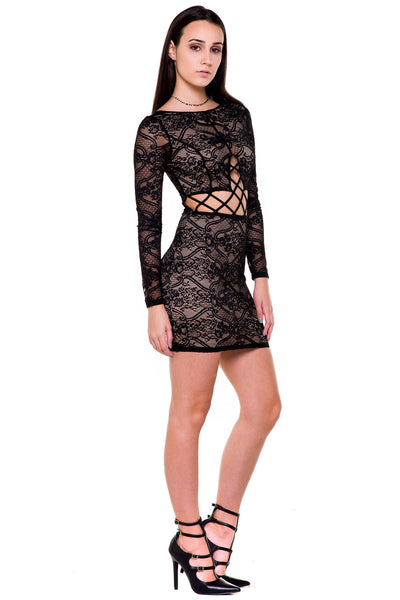 (akx) Caged on waist long sleeves lace short dress -Black- - L.A. Roxx - 2