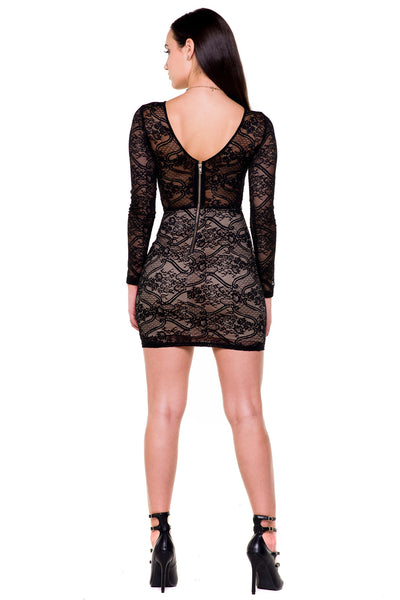(akx) Caged on waist long sleeves lace short dress -Black- - L.A. Roxx - 4