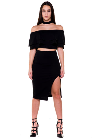 (akx) Off the shoulder layered choker crop top -Black-