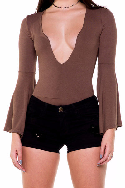 (akx) Bell long sleeves plunging bodysuit -Olive- - L.A. Roxx - 5