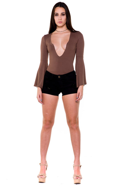 (akx) Bell long sleeves plunging bodysuit -Olive- - L.A. Roxx - 1