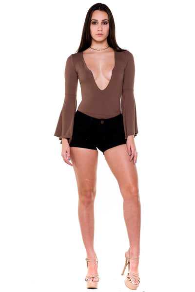(akx) Bell long sleeves plunging bodysuit -Olive- - L.A. Roxx - 3