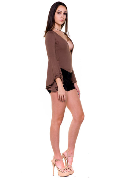 (akx) Bell long sleeves plunging bodysuit -Olive- - L.A. Roxx - 2