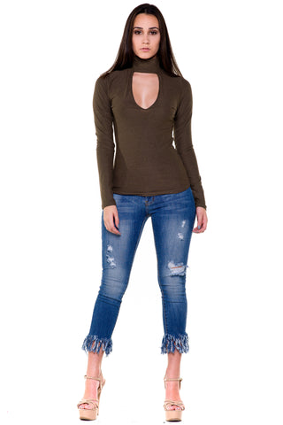 (akx) Mock neck V neck long sleeves top -Olive-
