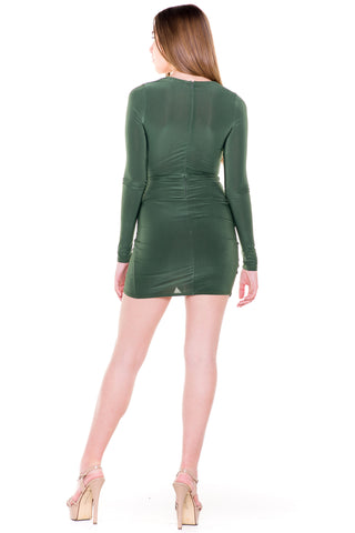 (akv) Asymmetrical hem long sleeves short dress -Green-
