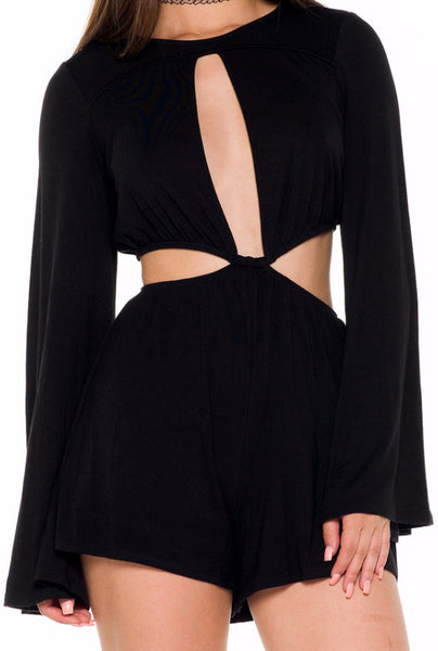 (alb) Cut out long bell sleeves plunging romper - L.A. Roxx - 5