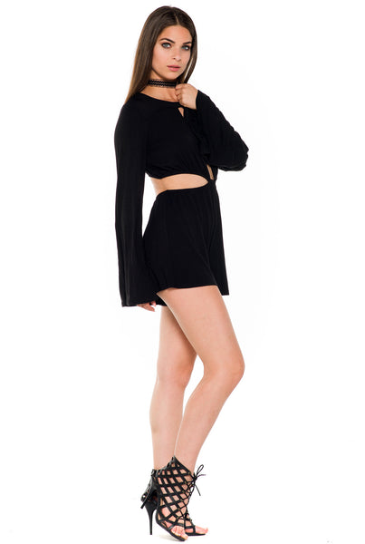 (alb) Cut out long bell sleeves plunging romper - L.A. Roxx - 2