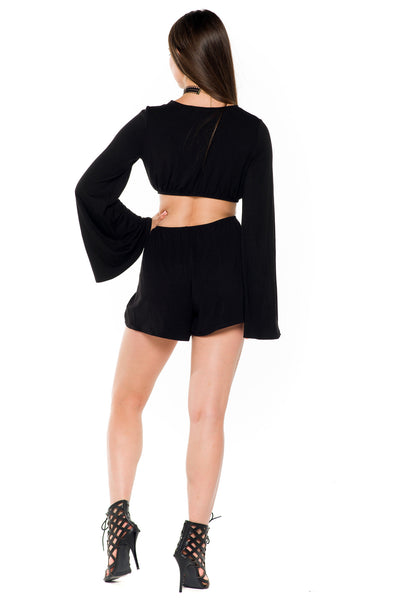 (alb) Cut out long bell sleeves plunging romper - L.A. Roxx - 4