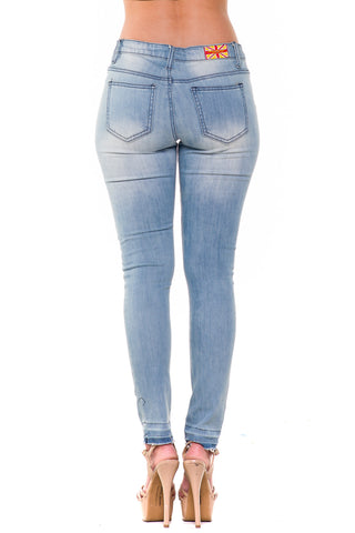 (akx) Slashed on knee distressed machine brand skinny jeans