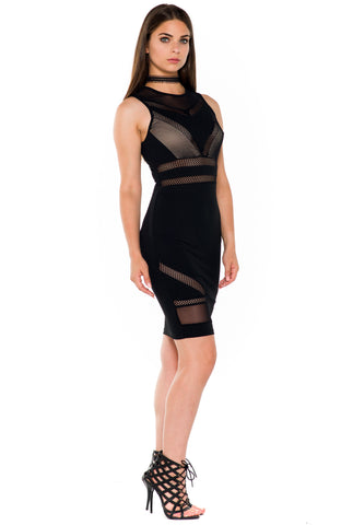 (alb) Mesh and net sleeveless knee length dress -Black-