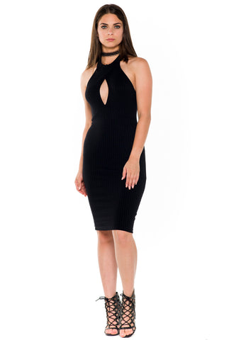 (alb) Mock neck cut out short dress -Black-