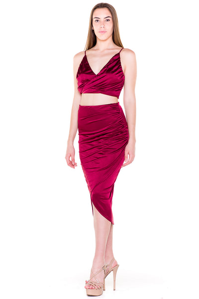 (akv) Gathered on side skirt set -Burgundy- - L.A. Roxx - 1