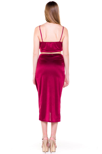 (akv) Gathered on side skirt set -Burgundy- - L.A. Roxx - 2