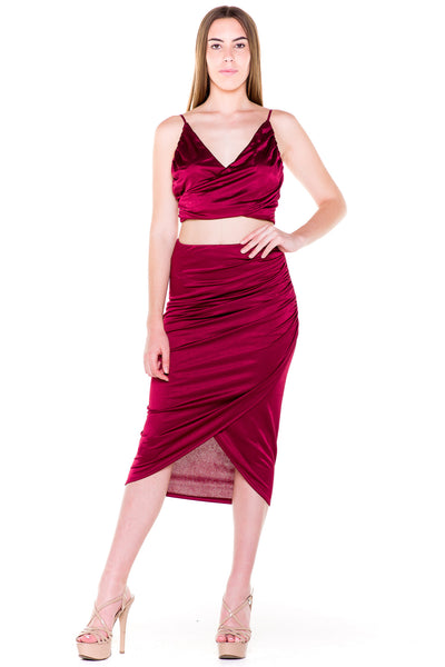 (akv) Gathered on side skirt set -Burgundy- - L.A. Roxx - 4